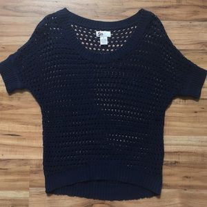 Tops - Short Sleeve Open Stitch Navy Sweater.